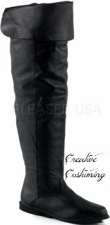MAV8812//B//LE Men/'s Medieval Renaissance Pirate Black Leather Costume Knee Boots