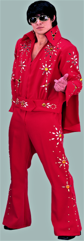 d4588c45658 Red Elvis Costume 2 Piece with Rhinestone   Cape