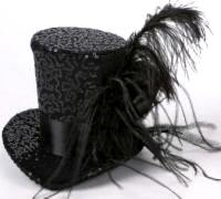 Burlesque Black Sequin Top Hat with Feather Trim 39b7959db4b